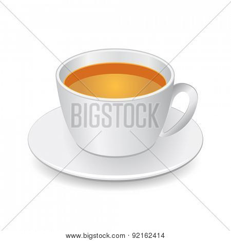 Cup with tea isolated on white, Vector Illustration