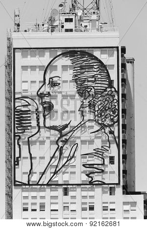 10-storey high portrait of Evita Peron