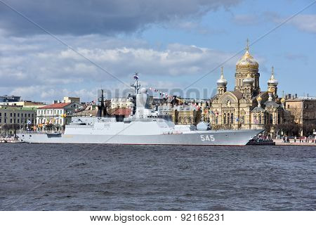 ST. PETERSBURG, RUSSIA - MAY 9, 2015: Corvette Stoykiy during the naval parade dedicated to the Victory Day. This is the first naval parade included in the Victory Day celebrations in St. Petersburg
