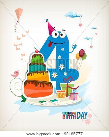 Fourth Birthday Card.