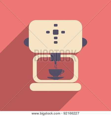 Flat with shadow icon and mobile applacation coffee maker