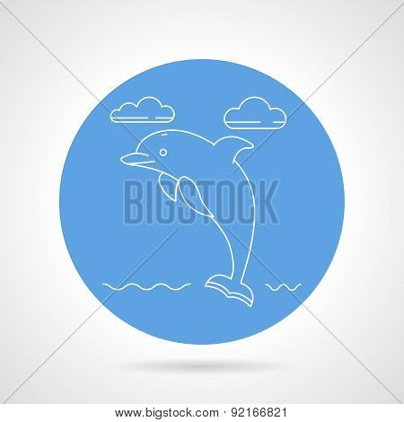 Dolphin Blue Round Vector Icon