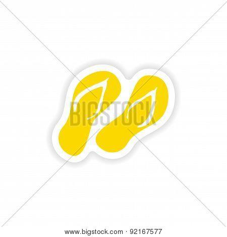 icon sticker realistic design on paper slippers