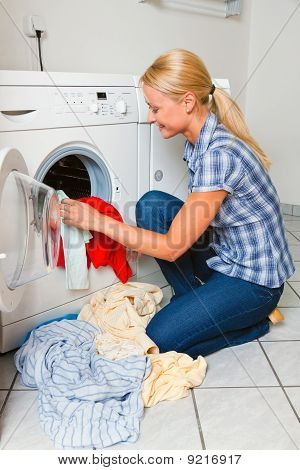 Housewife Washing And Laundry. Washing Day.