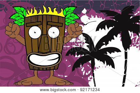tiki hawaiian mask cartoon card