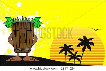 tiki hawaiian mask cartoon summer postal