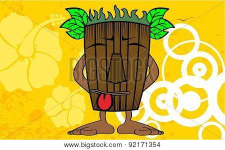 tiki hawaiian mask cartoon background