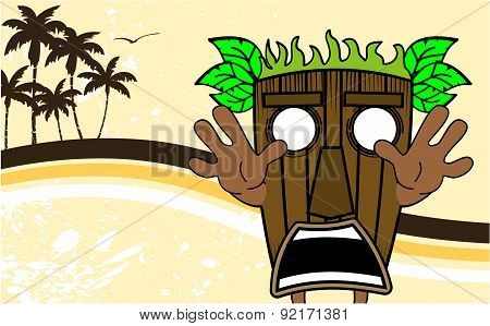 tiki hawaiian mask cartoon summer card