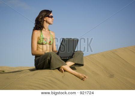 Surfergirl On Laptop