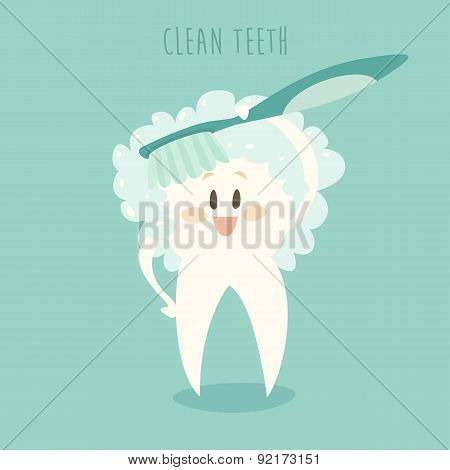 Clean the Healthy White Teeth Vector Illustration