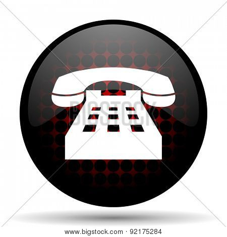 phone red glossy web icon