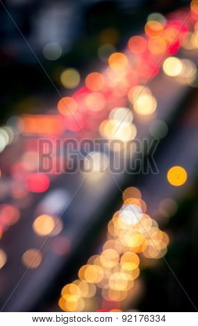 Defocused Of Cars Light On The Road