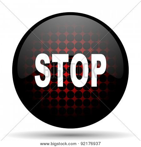 stop red glossy web icon