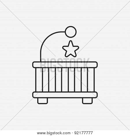 Baby Bed Line Icon