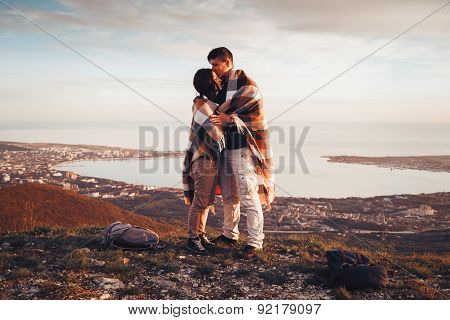Loving Couple Standing Outdoor