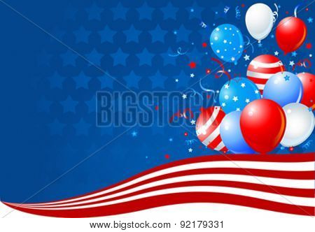 Bunch of colorful balloons on the American flag