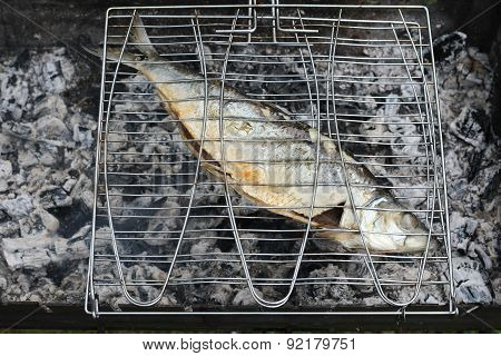 Herring Grill On Lattice Close Up During Roasting