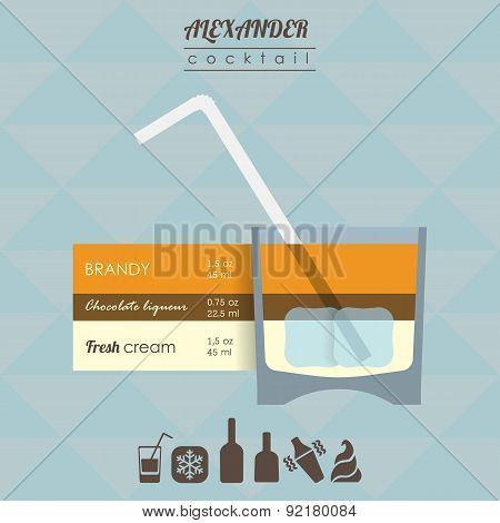 Alexander cocktail flat style  illustration with icons of recipe