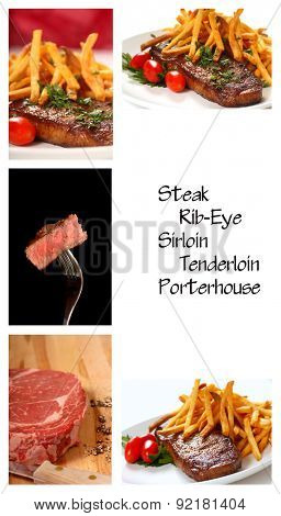 Collage showing a variety of different cuts of steaks both in the raw and cooked forms
