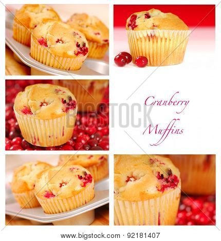 Collage showing a variety of images of delicious cranberry muffins
