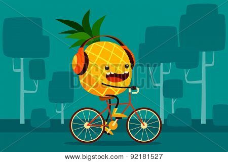 Pineapple Riding Bicycle In The Park