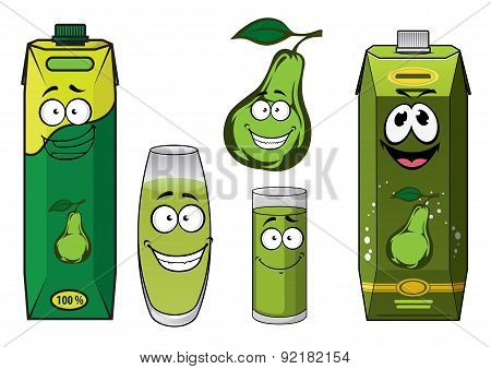 Green pear fruit and juice drink characters
