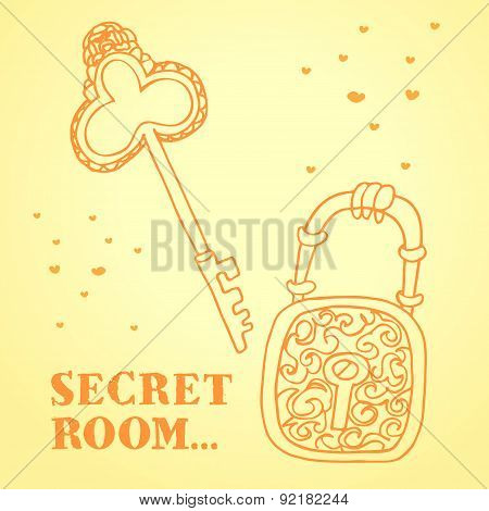 Beautiful Retro Key With Lock