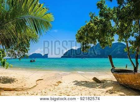 Exotic beach with palms and boats, Thailand