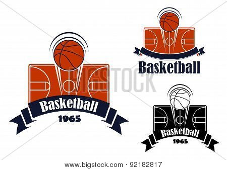 Basketball game sporting symbol or emblem