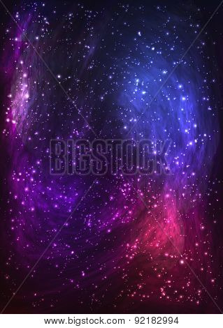Colorful space background with Nebula, stellar dust, bright light. Vector illustration