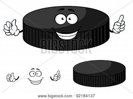 Happy cartoon hockey puck waving its hands
