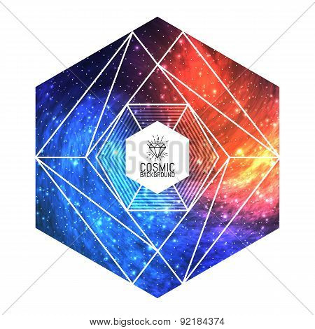 Hipster triangular colorful cosmic background. Vector Illustration for artwork, party flyers, poster