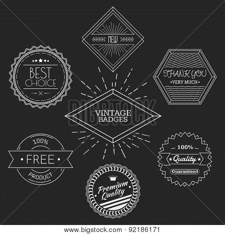 Guarantee, quality, thank you, best choice vintage retro badges white on black chalkboard background