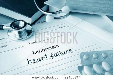 Diagnostic form with diagnosis heart failure