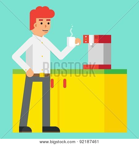 Drink Morning Invigorating  coffee Machine Male cheerful character Icon Flat Design on Stylish Backg