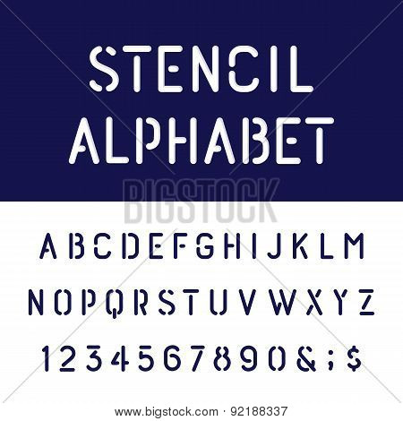 The Rounded Stencil Alphabet Vector Font