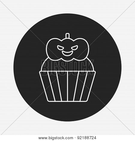 Halloween Cupcake Line Icon