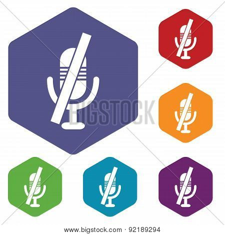 Muted microphone hexagon icon set