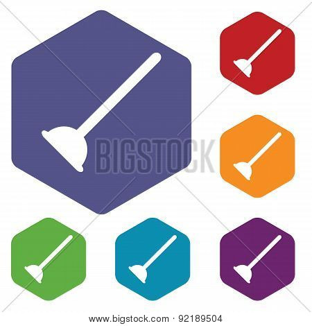 Plunger hexagon icon set