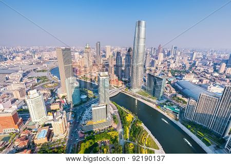 Aerial View Of Tianjin Skyline In The Afternoon