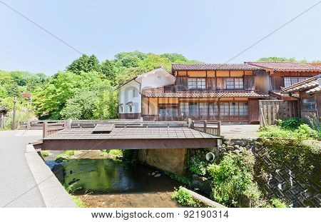 Old Houses And Bridge Of Omori, Japan. Unesco Site