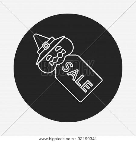 Halloween Sale Tag Line Icon