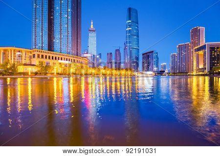 Tianjin Financial District At Night