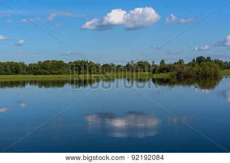 Lake Reflection Clouds Sky Trees