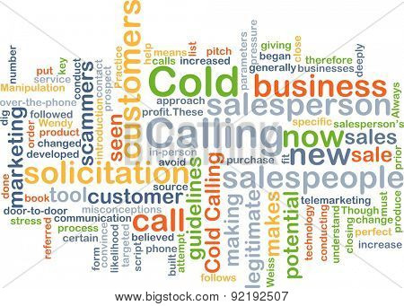 Background concept wordcloud illustration of cold calling