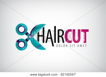 vector scissors logo, icon