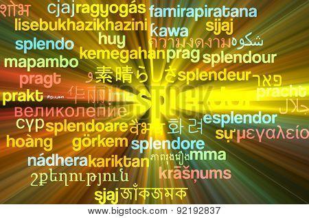 Background concept wordcloud multilanguage international many language illustration of splendor glowing light
