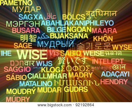 Background concept wordcloud multilanguage international many language illustration of wise glowing light