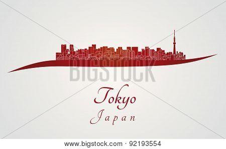 Tokyo V2 Skyline In Red