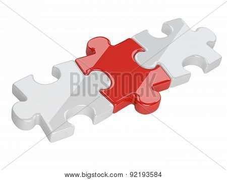 Three Red And White Puzzle Pieces.
